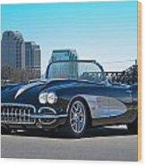 1958 Corvette With Skyline Wood Print