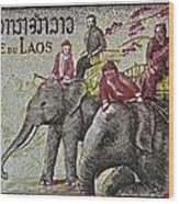 1958 Laos Elephant Stamp IIi Wood Print