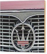 1958 Maserati Hood Emblem Wood Print