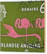 1958 Netherlands Antilles Flamingoes Stamp - Curacao Postmark Wood Print