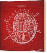 1958 Space Satellite Structure Patent Red Wood Print