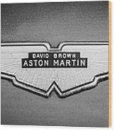 1959 Aston Martin Db4 Gt Hood Emblem -0127bw Wood Print