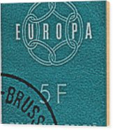 1959 Belgium Stamp - Brussels Cancelled Wood Print