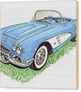 1959 Corvette Frost Blue Wood Print