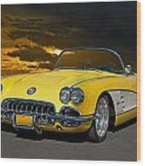 1959 Corvette Yellow Roadster Wood Print