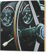 1960 Aston Martin Db4 Gt Coupe' Steering Wheel Emblem Wood Print