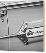 1960 Chevrolet Impala Emblem -340bw Wood Print