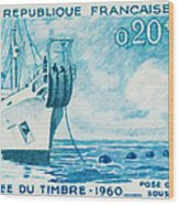 1960 Day Stamp Installation Of A Submarine Cable Wood Print