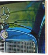 1960 Mercedes-benz 220 Se Convertible Hood Ornament Wood Print