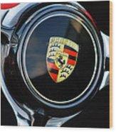 1960 Porsche 356 B Roadster Steering Wheel Emblem Wood Print
