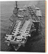 1960s Aerial Of Uss Saratoga Aircraft Wood Print