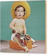 1960s Baby Wearing Cowboy Hat Wood Print