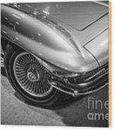 1960's Corvette C2 In Black And White Wood Print by Paul Velgos