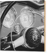 1961 Alfa Romeo Giulietta Spider Steering Wheel Emblem -1239bw Wood Print