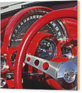 1961 Chevrolet Corvette Steering Wheel 2 Wood Print