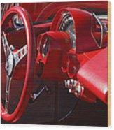1961 Chevrolet Corvette Steering Wheel Wood Print
