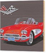 1961 Corvette Convertible Wood Print