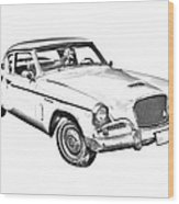 1961 Studebaker Hawk Coupe Illustration Wood Print