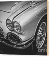 1962 Chevrolet Corvette Black And White Picture Wood Print