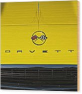 1962 Chevrolet Corvette Convertible Hood Emblem Wood Print