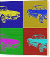 1962 Chevrolet Corvette Convertible Pop Art Wood Print