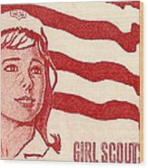 1962 Girl Scouts Of America Postage Stamp Wood Print