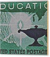 1962 Higher Education Stamp Wood Print