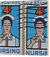 1962 Nursing Stamp Collage Wood Print