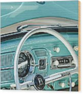 1962 Volkswagen Vw Beetle Cabriolet Steering Wheel Wood Print