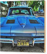 1963 Blue Corvette Stingray-front View Wood Print