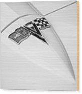 1963 Chevrolet Corvette Split Window Emblem -121bw Wood Print