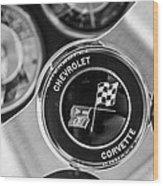 1963 Chevrolet Corvette Split Window Steering Wheel Emblem -170bw Wood Print