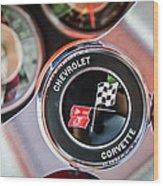 1963 Chevrolet Corvette Split Window Steering Wheel Emblem -170c Wood Print