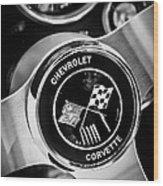 1963 Chevrolet Corvette Split Window Steering Wheel Emblem -309bw Wood Print