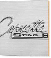 1963 Chevrolet Corvette Split Window - Sting Ray Emblem -252bw Wood Print