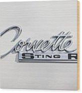 1963 Chevrolet Corvette Split Window - Sting Ray Emblem -252c Wood Print
