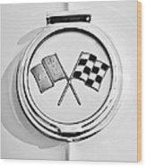 1963 Chevrolet Corvette Split Window - Sting Ray Emblem -257bw Wood Print