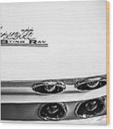 1963 Chevrolet Corvette Split Window Taillight Emblem -458bw Wood Print