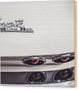 1963 Chevrolet Corvette Split Window Taillight Emblem -458c Wood Print