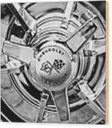 1963 Chevrolet Corvette Split Window Wheel Emblem -478bw Wood Print