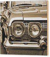 1963 Chevrolet Impala Ss In Sepia Wood Print