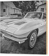 1963 Chevy Corvette Coupe Painted Bw    Wood Print