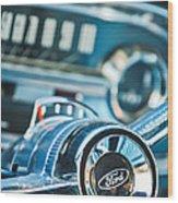 1963 Ford Falcon Futura Convertible  Steering Wheel Emblem Wood Print by Jill Reger
