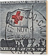 1963 Red Cross Stamp - San Francisco Postmark Wood Print