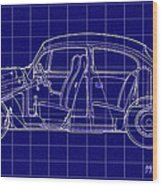 1963 Volkswagon Beetle Blueprint Wood Print