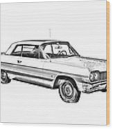 1964 Chevrolet Impala Car Illustration Wood Print