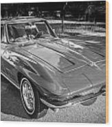 1964 Chevy Corvette Coupe Bw Wood Print