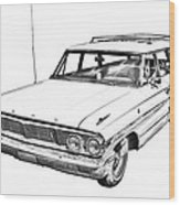 1964 Ford Galaxy Country Stationwagon Illustration Wood Print