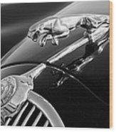 1964 Jaguar Mk2 Saloon Hood Ornament And Emblem Wood Print