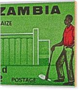 1964 Zambia Farmer Stamp Wood Print